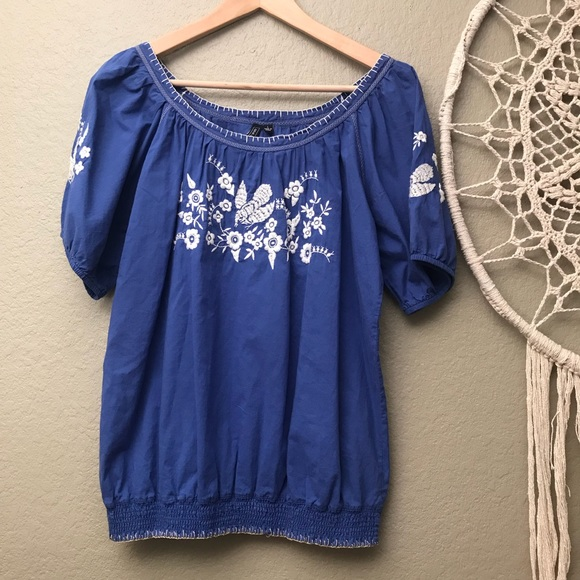 one september Tops - ONE SEPTEMBER Blue and White Embroidered Shirt Top